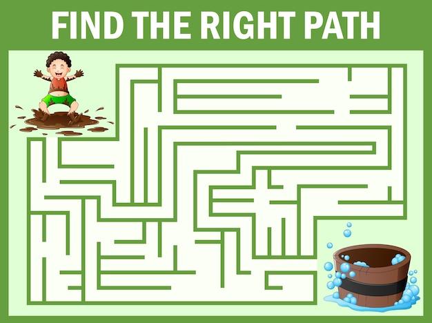 Labyrinth spiele finden den schmutzigen jungen weg zur badewanne