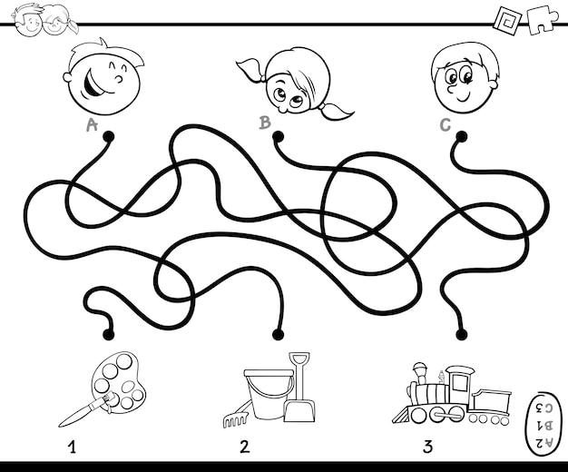 Labyrinth wege aktivität spiel zum färben