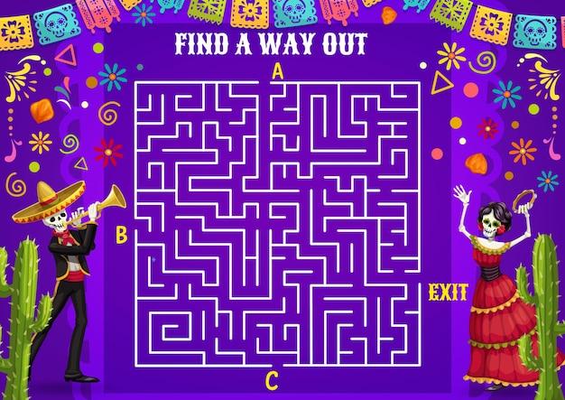 Labyrinthlabyrinth mit mexikanischen charakteren. puzzlespiel mit dem finden des pfades. mexikanische dia de los muertos mariachi-musikerin und tanzende skelette, tag der toten papel picado-flaggen