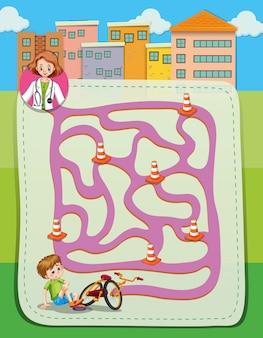 Labyrinthschablone mit doktor und jungen
