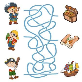 Labyrinthspiel, bildungsspiel für kinder. piratenfiguren und gegenstände
