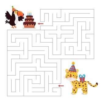Labyrinthspiel für geburtstagsfeier. niedliche cartoon-dschungeltierfiguren. tukanvogel mit kuchen und leopard mit geschenk.
