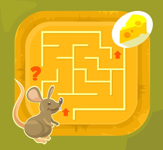 Labyrinthspiel für kinder, flache karikaturillustration