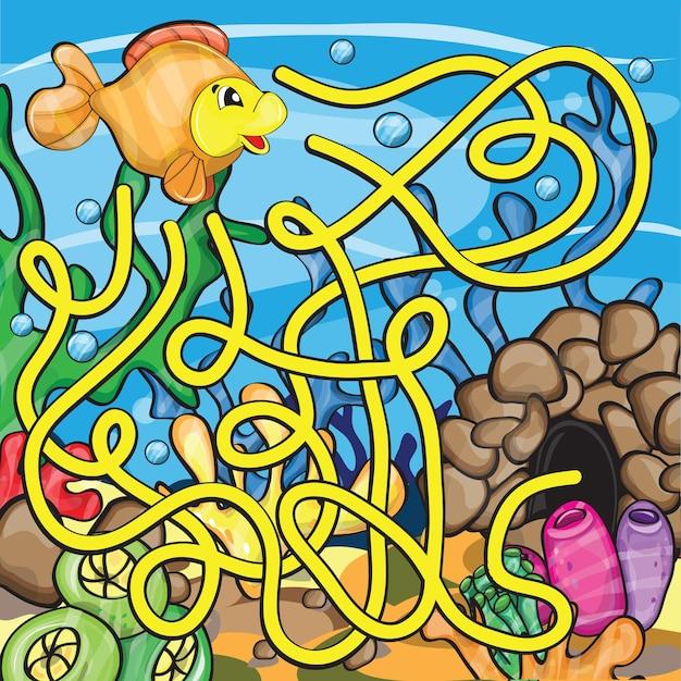 Labyrinthspiel für kinder - hilf dem kleinen fisch nach hause zu kommen