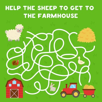 Labyrinthspiel für kinder. hilf niedlichen schafen, zum bauernhaus zu gelangen. arbeitsblatt für kinder.
