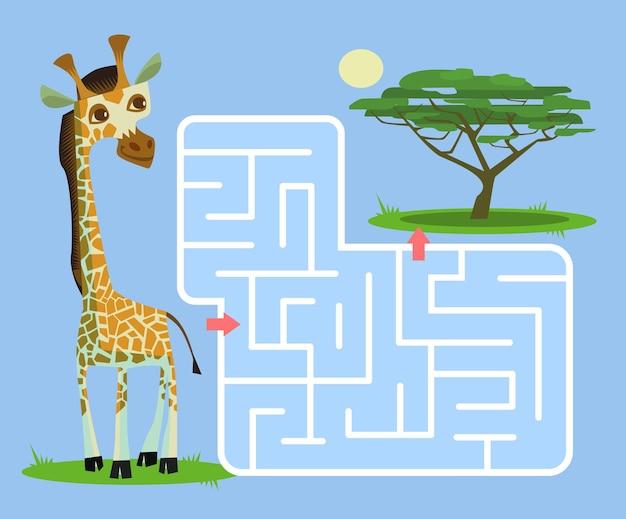 Labyrinthspiel für kinder mit giraffenkarikaturillustration