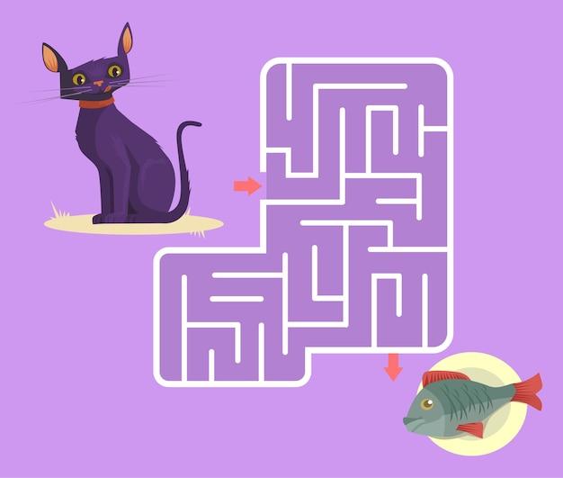 Labyrinthspiel für kinder mit katzenkarikaturillustration