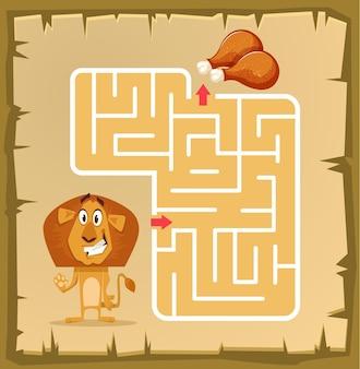 Labyrinthspiel für kinder mit löwenkarikaturillustration