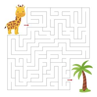 Labyrinthspiel für kinder mit niedlicher karikaturbabygiraffe und palme