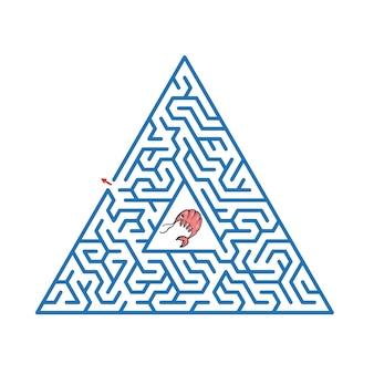 Labyrinthspiel für kinder nette karikaturarbeitsblattillustration