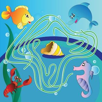 Labyrinthspiel für kinder - unterwasserleben - vektor