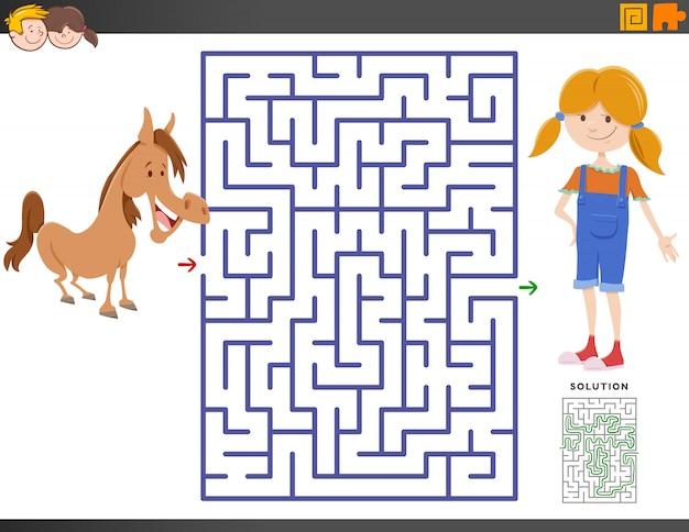 Labyrinthspiel mit cartoon-mädchen und pony