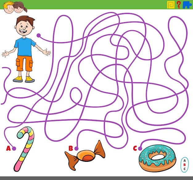 Labyrinthspiel mit gegenständen des jungen und des süßen lebensmittels