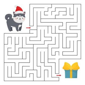 Labyrinthspiel mit husky-hund und weihnachtsgeschenk