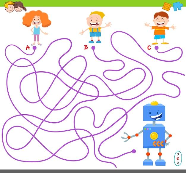 Labyrinthspiel mit lustigen robotercharakteren