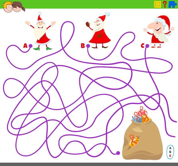 Labyrinthspiel mit weihnachtsmann und geschenken