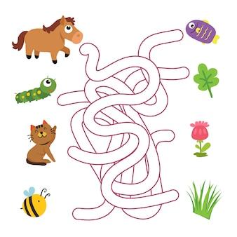 Labyrinthspiel-vektordesign, tiere, die spielvektordesign zusammenbringen