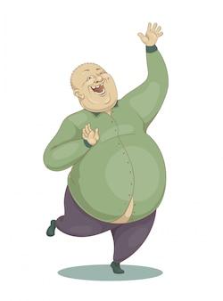 Lachender großer kahler mann in einem grünen hemd springen