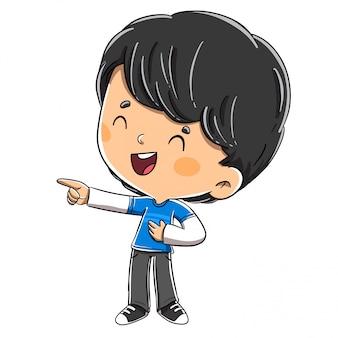 Lachender junge beim zeigen seines fingers