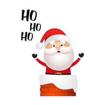 Lachender weihnachtsmann, der in kamin kommt