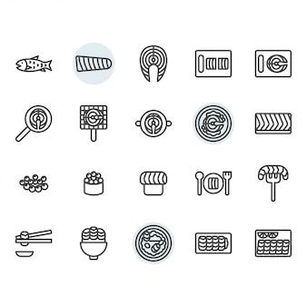 Lachs bezogene dünne linie icon-set