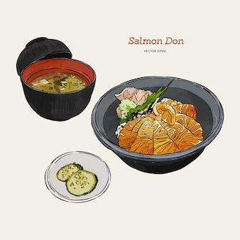 Lachs-donburi-satz, skizzenvektor des handabgehobenen betrages. japanisches essen