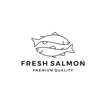 Lachs fisch logo meeresfrüchte label abzeichen vektor aufkleber download