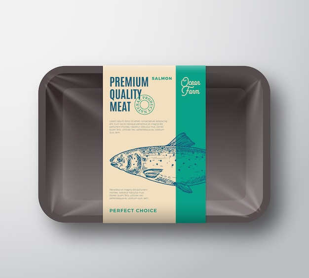 Lachs in premiumqualität. abstrakte vektor-fisch-plastikschale mit zellophan-abdeckungsverpackungs-design-etikett.