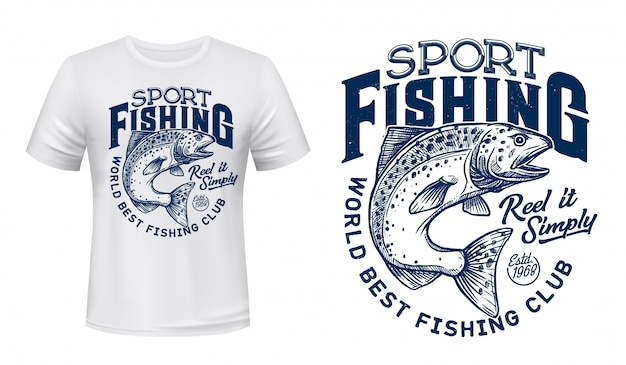 Lachsfisch-t-shirt-druck, fischersportverein
