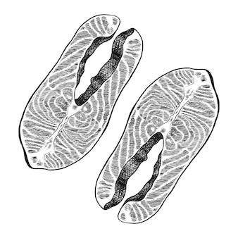 Lachsfischhand gezeichnet auf weiß