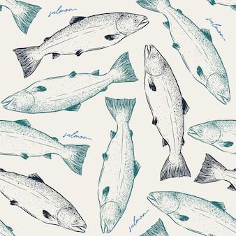 Lachsfischhandabgehobener betrag, nahtloser musterskizzenvektor.