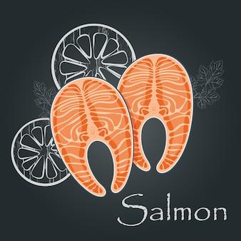 Lachssteak auf dunklem hintergrund. scheibe roter fischlachs. meeresfrüchte-ernährungskonzept. illustration.