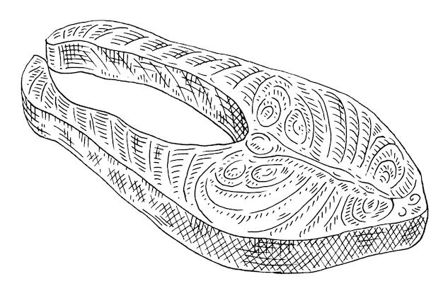 Lachssteak auf weißem hintergrund vintage-vektor-gravur monochrome schwarze illustration