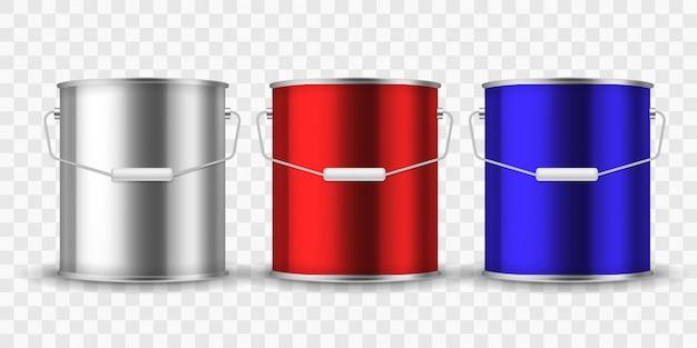 Lackdose lackieren. silber eimer metalldosen paket farbe aluminiumbehälter mit griff für innenrenovierung realistisch