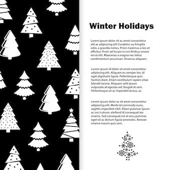 Laconic schwarzweiss-winterferien-fahnenschablone mit stilvoller weihnachtsbaumillustration