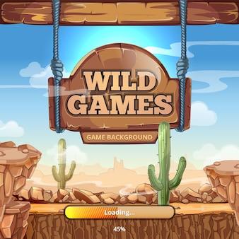 Ladebildschirm mit titel für wild west-spiel. wüste und berge, kaktus und stein, wegweiser