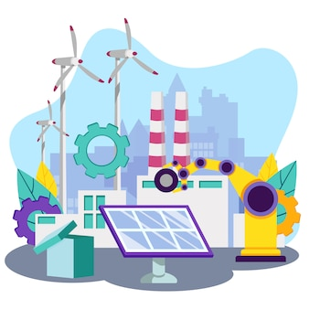 Ladekran angetrieben von solarpanel illustration