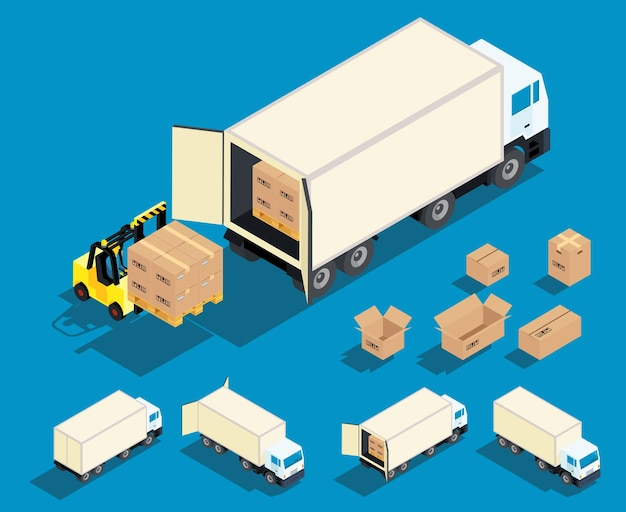 Laden der ladung in die isometrische darstellung des lastwagens. lieferung, frachttransportindustrie