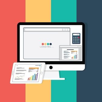 Laden der webseite, finanzierungsartikel zur textbearbeitung und taschenrechner auf weißem monitor mit grafik und tabelle. wirtschaftsnachrichten auf tablettenschirm. flache stil vektor-illustration.