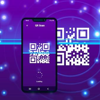 Laden des bildschirms auf dem mobiltelefon, der den qr-code scannt