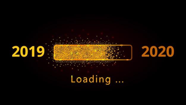 Laden des goldenen funkeln-fortschrittsbalkens des neuen jahres 2020 mit den roten scheinen lokalisiert auf schwarzem