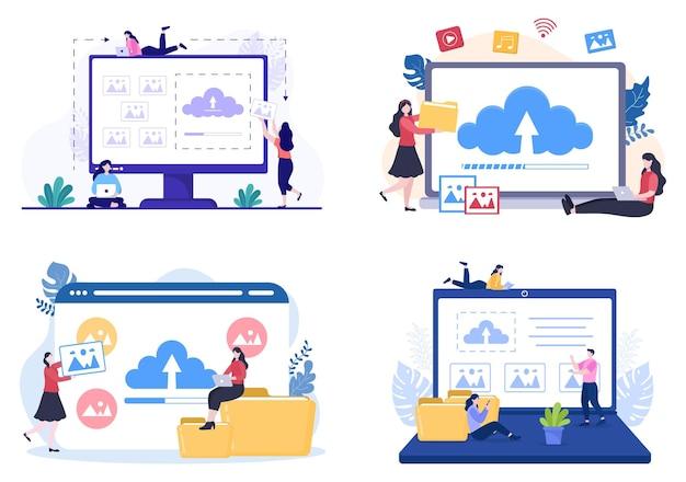 Laden sie den bildhintergrund von online-geräteinformationen und -daten in die konzeptvektorillustration für soziale netzwerke hoch