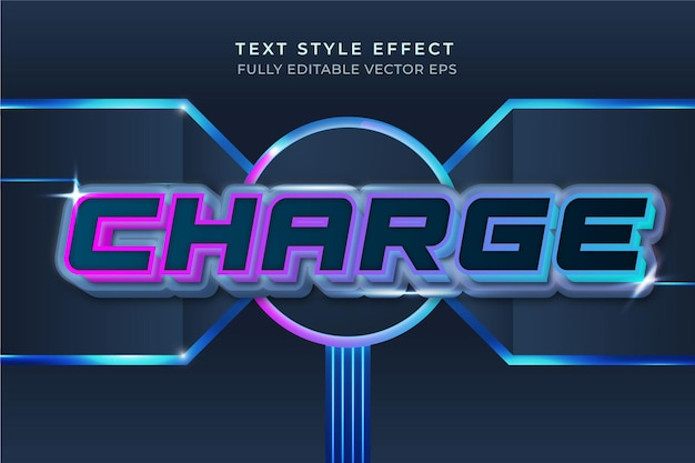 Laden sie den blauen bearbeitbaren 3d-texteffekt im tech-stil auf
