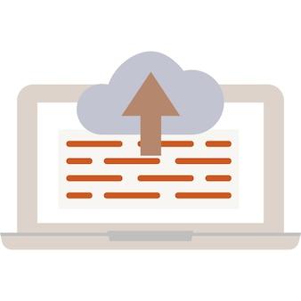Laden sie den download in den cloud-symbolvektor-datenspeicher hoch