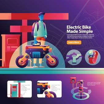 Laden sie den elektrischen urban bike-transport für die tägliche aktivität eines vielbeschäftigten mannes auf
