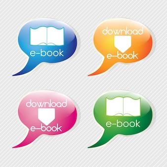 Laden sie die bunten ikonen des ebooks auf text bubblesvector-illustration herunter