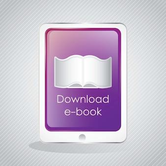 Laden sie die ebook-ikone auf tabletvector-illustration herunter