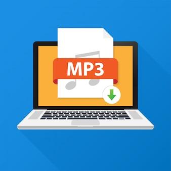 Laden sie die mp3-taste auf dem laptop-bildschirm herunter. dokumentenkonzept herunterladen. datei mit mp3-label und pfeil nach unten zeichen. vektor-illustration