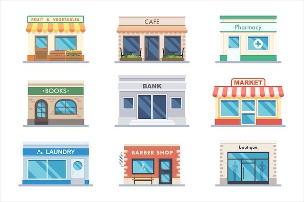 Laden sie fassade friseurladen, café, bankgebäude außenset. obst- und gemüsemarkt, bistro, apotheke, buchhandlung, wäscherei, modeboutique-vektorillustration einzeln auf weißem hintergrund