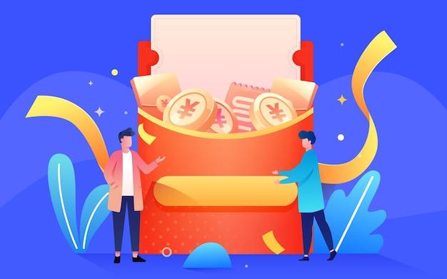 Laden sie freunde ein, rote umschläge zu senden, um belohnungen für die vektorillustration des finanziellen reichtums zu teilen